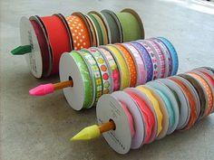 DIY Ribbon Organizer : unsharpened pencils or wooden dowels + erasers on both ends = ribbon holder... smart!