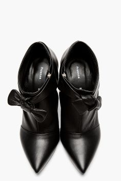 PROENZA SCHOULER Black leather Bow Horn Heeled Ankle boots