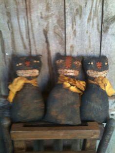 Primitive gathering of black folk art Cat sitter doll tucks folk Art Halloween #NaivePrimitive