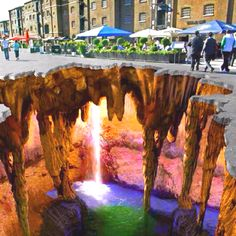 3D sidewalk art um, it's chalk folks