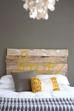 repurposed wood for headboard
