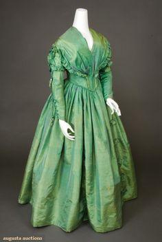 1840's Green Silk Dress