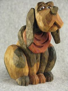 Wood carving dog