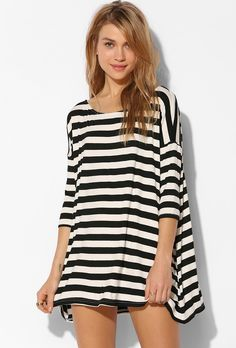 Black and White Striped Batwing T-shirt