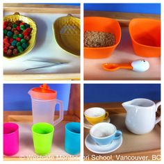 Some of the Montessori Practical Life activities on our shelves - transferring and pouring. #basicskills #montessori