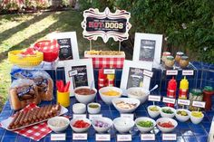 hot dog bar, party themes, parties, 4th of july, hotdog, summer bbq, food bars, parti idea, hot dogs