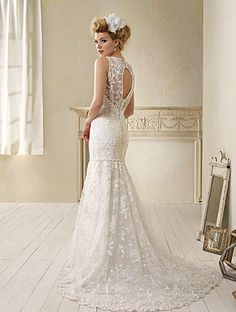 Modern Vintage Alfred Angelo Style 8597 - Lace over Charmeuse, Crystal Beading, Pearls, Satin Flowers Chapel Train
