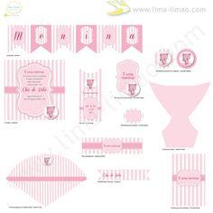 Baby Shower party set by ShopLimaLimao on Etsy... Kit chá de bebé menina
