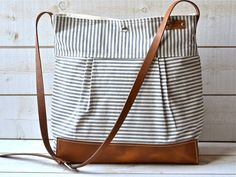 IKABAGS - STOCKHOLM Gray and ecru nautical stripe LEATHER adjustable strap, (http://www.ikabags.com/stockholm-gray-and-ecru-nautical-stripe-leather-adjustable-strap/)