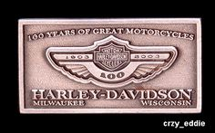 Harley Davidson 100th Anniversary Items | HARLEY DAVIDSON ANNIVERSARY SQUARE LOGO PIN 100TH CARD **OBSOLETE ITEM ...