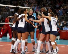 U.S. players celebrate after defeating China during their women's Group B volleyball match at Earls Court during the London 2012 Olympic Games london 2012, summer olymp, olymp volleybal, olympic games, olympic volleyball