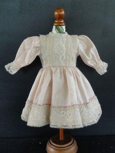 BLEUETTE Doll dress- For 11-12  antique vintage or Artist doll. Made in FRANCE  SAMANTHA