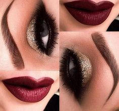 Looking for a New Years look? Try this glittery smokey eye, with a vamp lip. You're sure to get noticed!