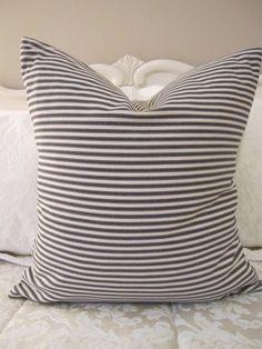 Pillow, Decorative Throw Pillow Cover, Black Ticking Stripe Pillow Cover 20 x 20. $32.00, via Etsy.