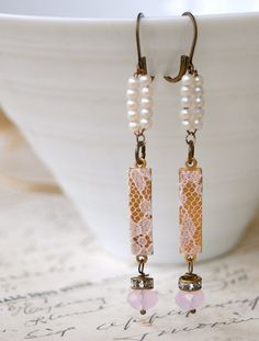 Omg! The designer in this jewelry shop is fabulous! Romantic lace vintage beaded earrings by tiedupmemories on Etsy,