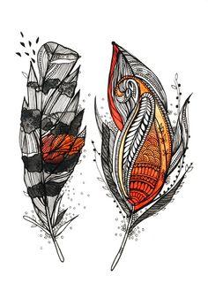 Sunset Feathers Art Print