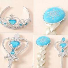 Frozen Elsa's crown, wig, & magic wand