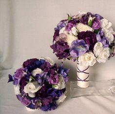 Purple Bridal Bouquet Silk Wedding Flowers by AmoreBride on Etsy,