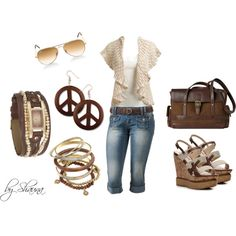 """brown and cream"" by shauna-rogers on Polyvore"