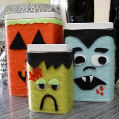 Love these Halloween containers done with yarn--can also use coffee cans or oatmeal containers, etc.