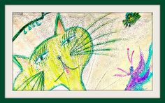 Cat & Bugs Pastel Drawing Mixed Media Photography by Kat