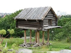 Traditional raised Sami storehouse, displayed at Skansen, Stockholm. A similar structure, the izbushka, is mentioned in Russian children stories as a house with chicken feet.
