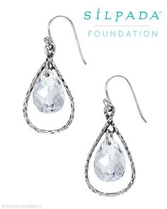 As the chosen piece for the #Silpada Foundation, these faceted #CubicZirconia and #SterlingSilver #Earrings #sparkle with graceful details. For each pair sold, $10 will be donated to the #Silpada Foundation.