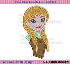 Anna embroidery design  filled stitch frozen by GLStitchStudio, $4.99
