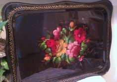 Rose tole tray