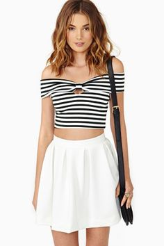 With a bright red bow collar? Thinking for door host gals Frenchie Stripe Crop Top $38