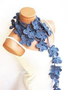 Pastel Blue Hand made crochet Flower Lariat by WomanStyleStore, $20.00