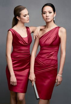Dressing your 'maids in red satin is fun and sexy - and they can definitely wear these looks again! Shop all of our dresses in 'Apple'! #davidsbridal #redhotweddings #bridesmaids