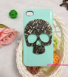 iPhone 4 case skull iPhone 4s case Skeleton iPhone 5 case Mint Green iPhone 4 case brass skull punk cover iPhone 5 hard plastic iPhone5 case