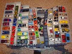 Tackle box for storing Matchbox cars