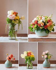 Multiple styles of coordinating flowers.