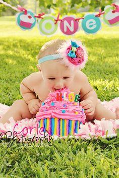 Birthday Cupcake Headband -Baby Girl Headband - Infant Headband - Newborn Headband - Photo Prop. $15.00, via Etsy.