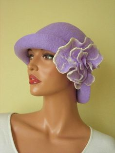 Felted hat  lilac, lavender, purple,felt hat with brooch,elegant and unique,romantic hat,glamorous. $119.00, via Etsy.