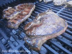 Venison steaks on the grill.