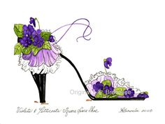 Violets & Petticoats Square Dance Shoe - Original sold but prints available.  Inventory sale 50% to 75% off original watercolors to make room for new ones. Get them while you can.  Going fast.     L.S. Brownlee Art Studio