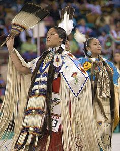 Native American women dancing a traditional dance. They often compete as winners get money for their tribes. Both men and women compete, but not everyone is a dancer in most tribes, just the ones who choose to train for it.