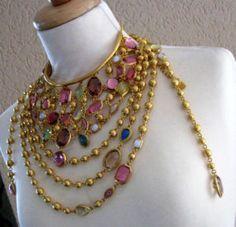 GIVENCHY Couture Statement Necklace Sautoir w/ Bezel Crystal Set