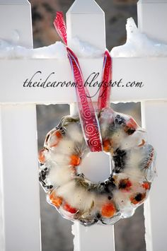 christmas parties, ice wreath, winter wreaths, outdoor christmas