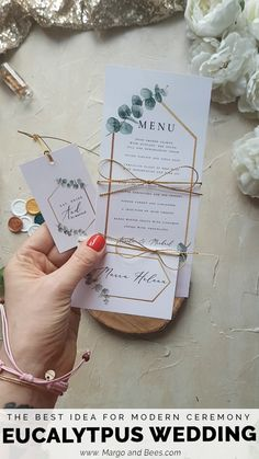 Simple wedding stationery with #eucalyptus   #weddingideas #summerwedding #rusticglamwedding #greenandgoldwedding