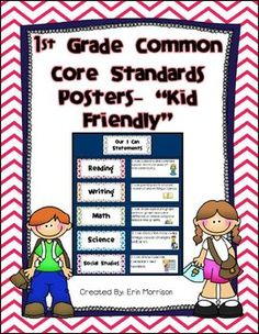 1st grade kid friendly common core standards posters