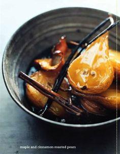 maple and cinnamon roasted pears
