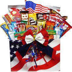 Our Stars & Stripes - Gift Basket Box filled with goodies by Art of Appreciation http://www.nashvillewraps.com/basket-supplies/birthday-gift-baskets/large-stars-stripes-flag-basket-boxes/sku-sasl.html