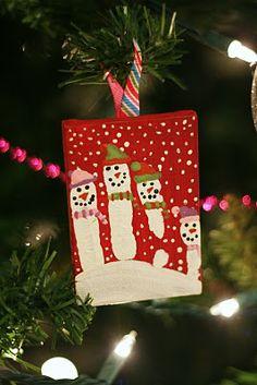 snowmen handprint ornament