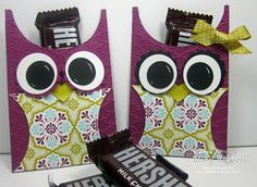Stampin' Up! Treat Holder  by Becky R at Inking Idaho: Owl Treat Holder