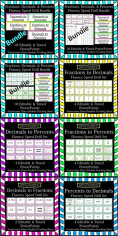 Save $5 and buy the BUNDLE for $9 Fractions, Decimals, Percents Fluency BUNDLE -18 EDITABLE and timed PowerPoints.  Visit Gotta Luv It Creations on Teachers Pay Teachers!