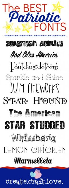 These are the BEST Free Patriotic Fonts you will find on the world wide web!  www.createcraftlove.com